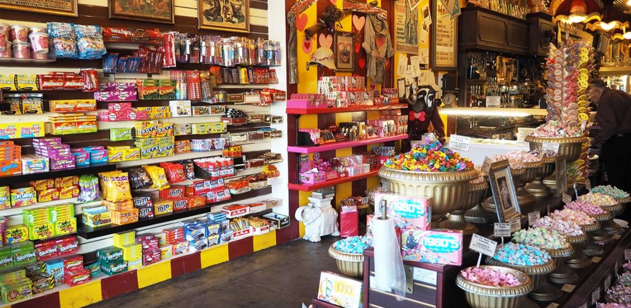 Wall of candy at Big Top Candy Shop on SoCo