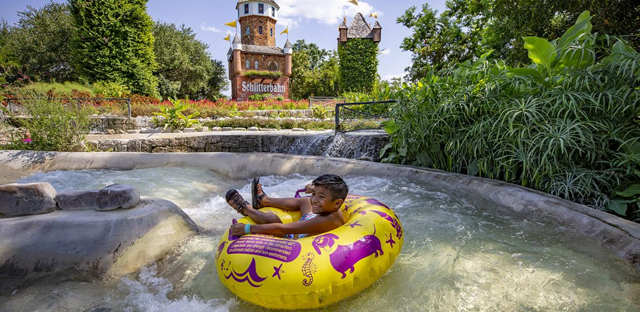 Child tubing at Schlitterbahn Waterparks and Resorts in New Braunfels Texas