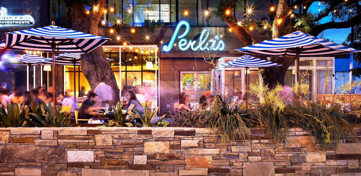 patio on south congress at Perlas Seafood and oyster bar in austin texas