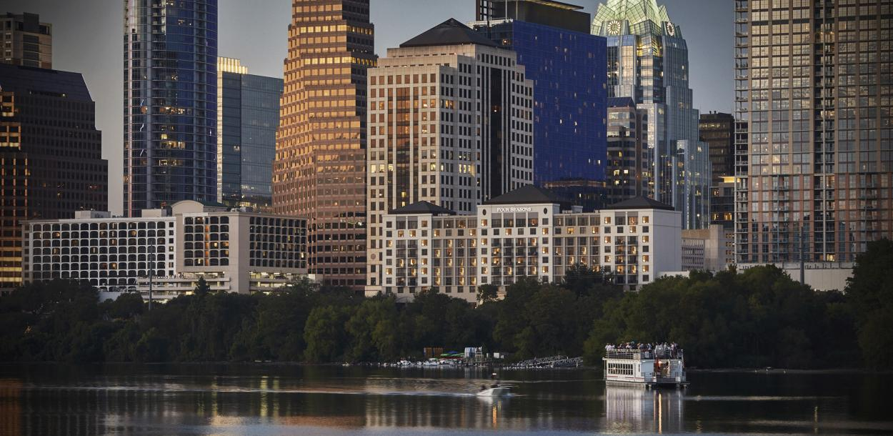 Skyline with Lady Bird Lake and Four Seasons Austin