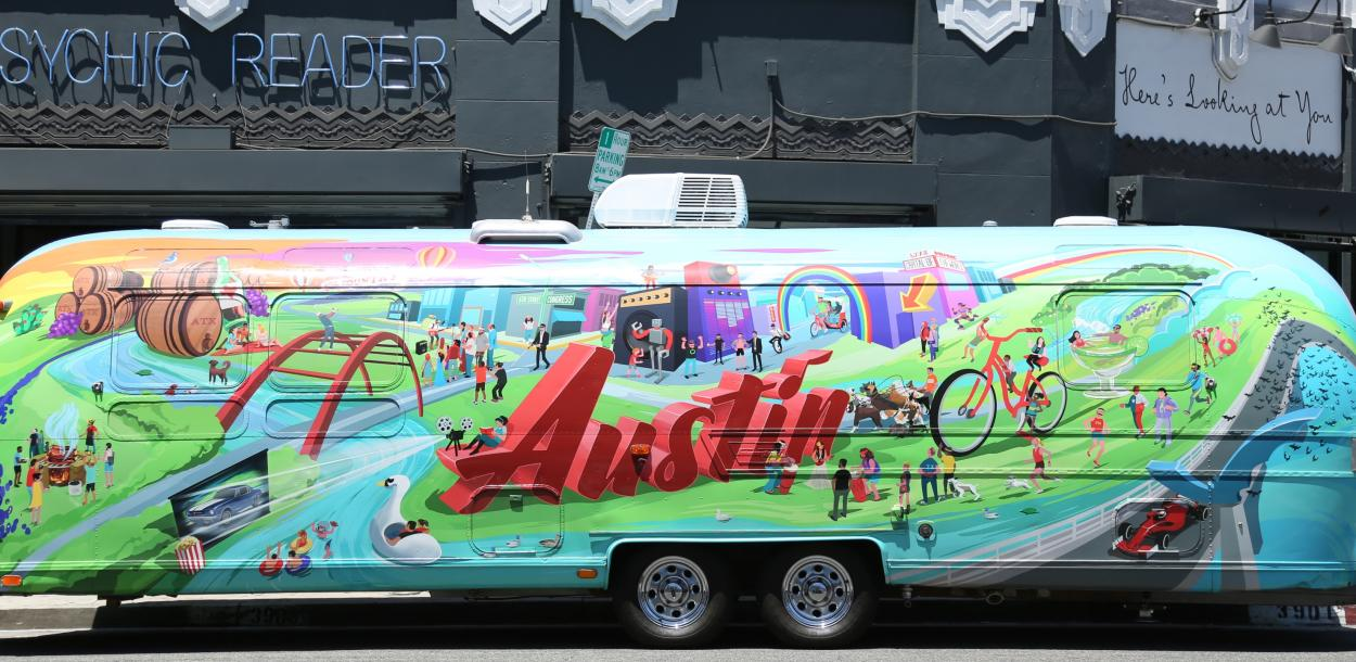 Visit Austin Airstream at Heres Looking at You restaurant in LA for Chefsfeed Event