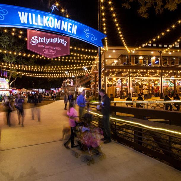 Beautifully lit Wurstfest entrance in New Braunfels, Texas