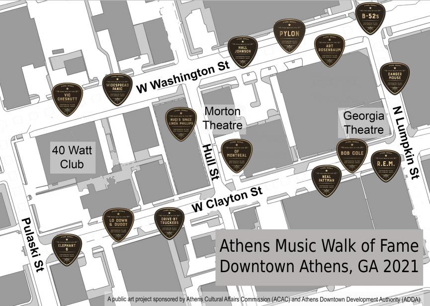 Athens Music Walk of Fame Map 2021