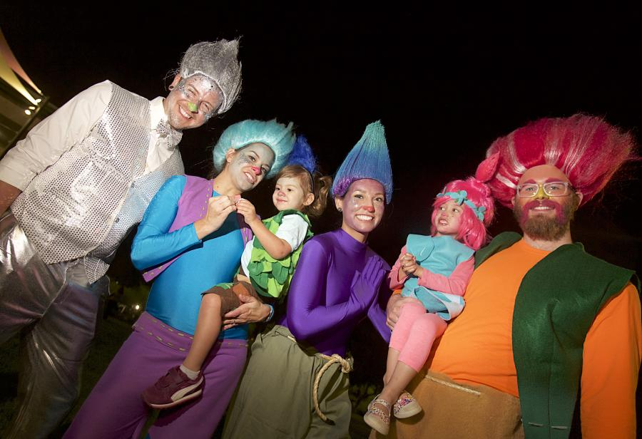 """Family Dressed as """"Trolls"""" in the Halloween Spooktacular - Costume Contest"""