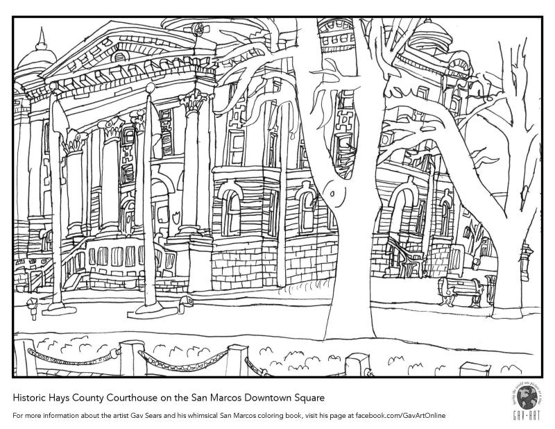 Hays County Courthouse coloring page from local artist, Gav Sears.
