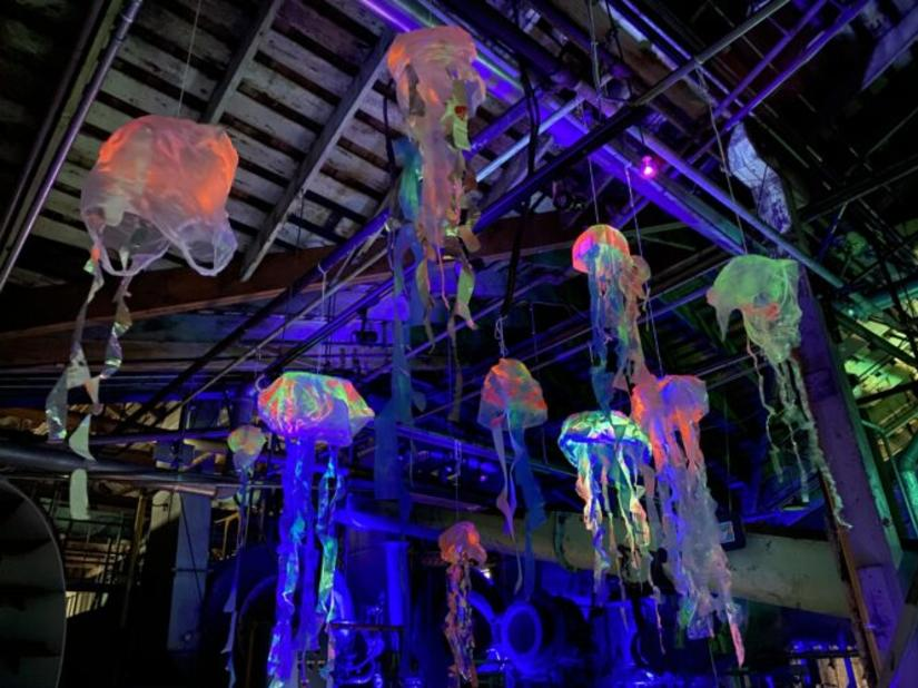 upcycled plastics hang like jellyfish in the Haunted Sea Halloween experience at the Gulf of Georgia Cannery