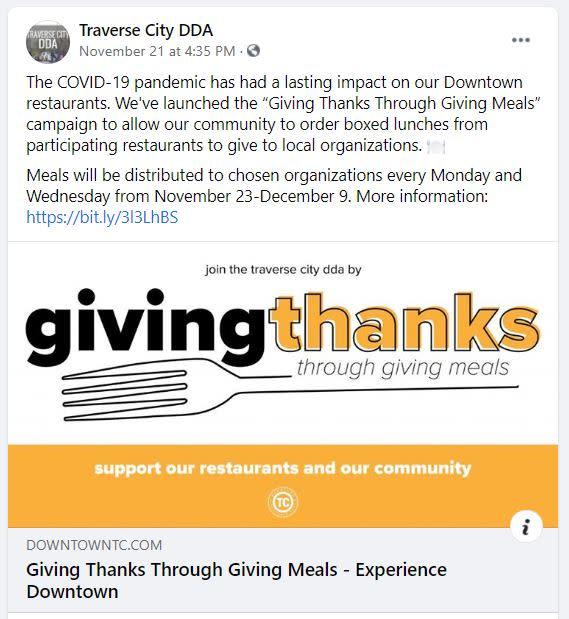 DDA Giving Thanks FB Screenshot