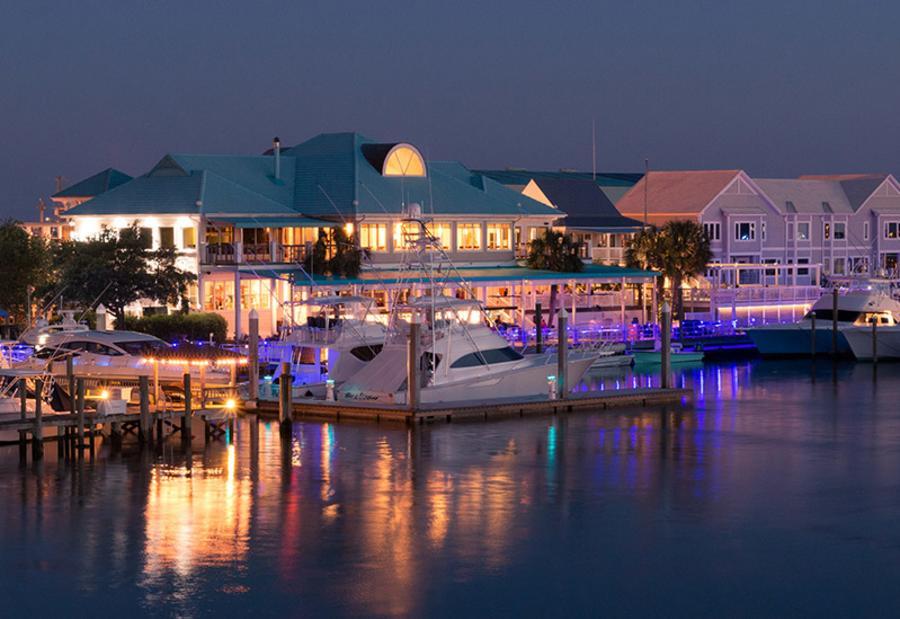 Bluewater Grill marina at night