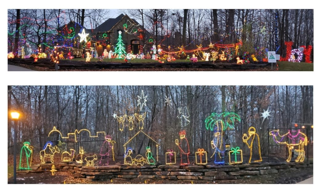 Christmas Lights Display at 15509 Golden Eagle Nest in Fort Wayne, Indiana