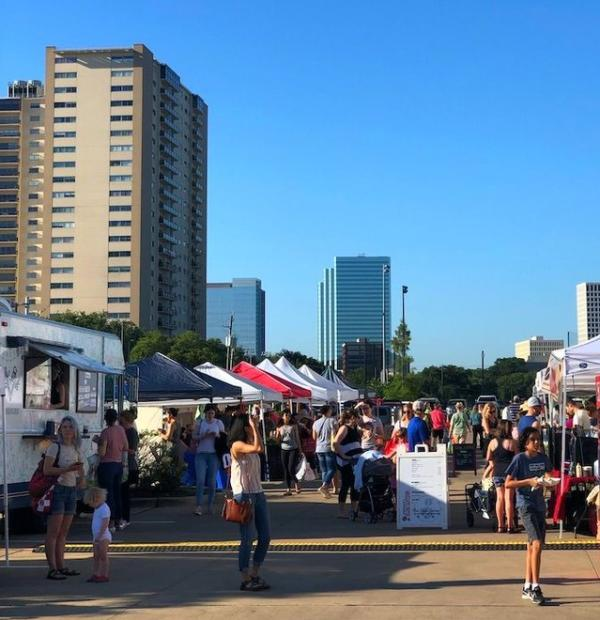 Crowds Of People At Urban Harvest Farmer's Market In Houston, TX