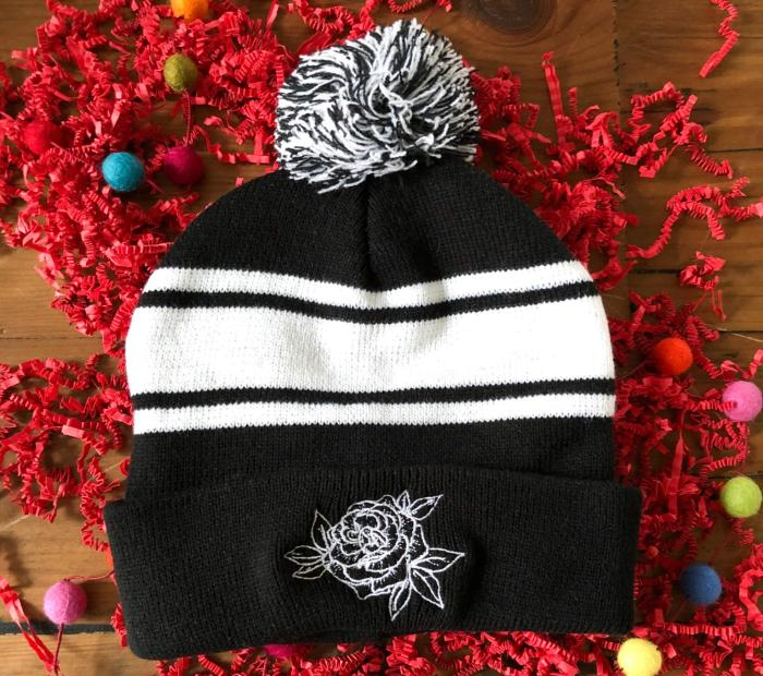 Roses and Mint Floral Beanie
