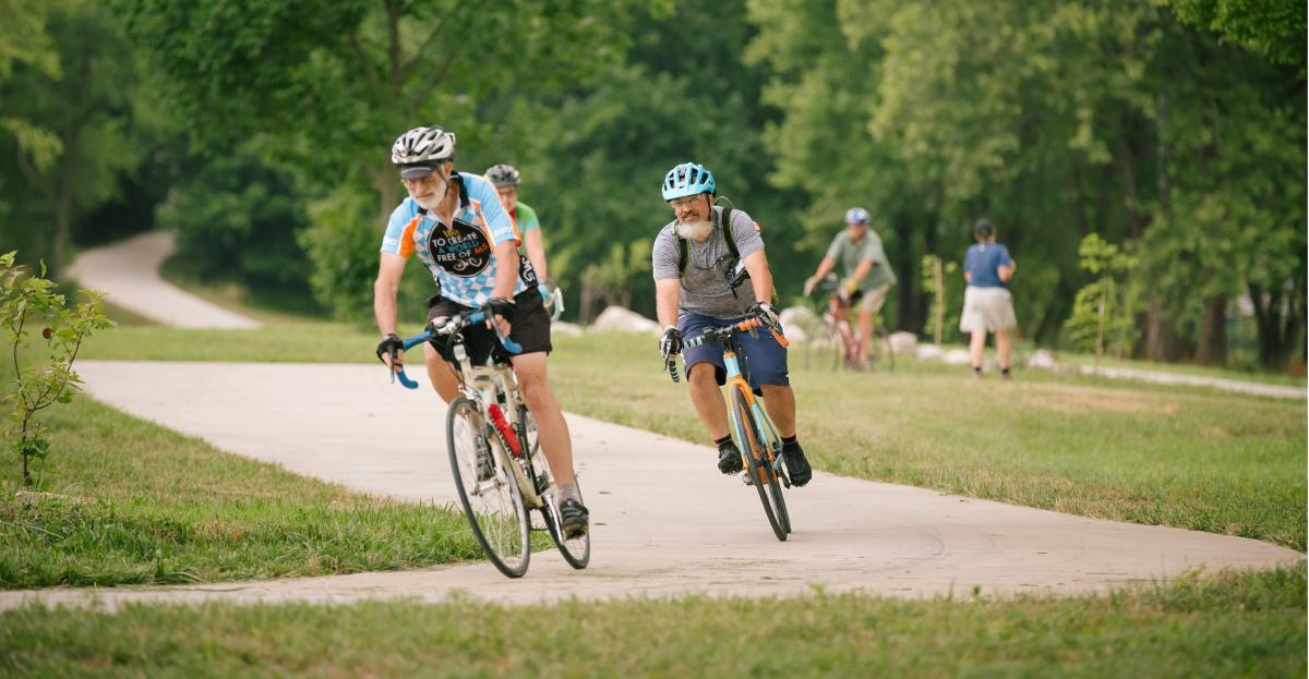 Bicycling on Ozark Greenways trail in Springfield, Missouri