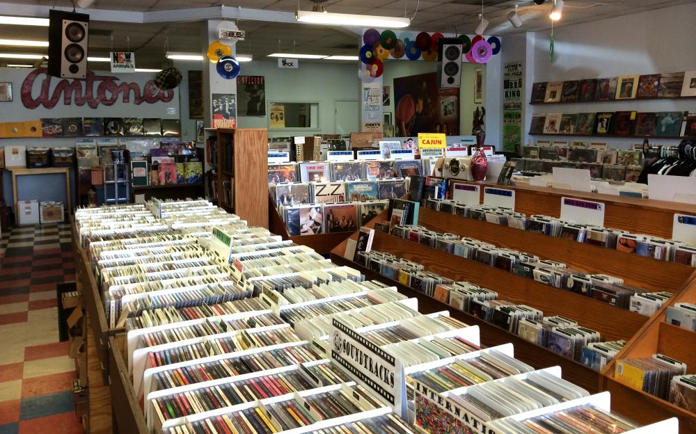 Rows of CDs and vinyl at Antones Record Store in Austin Texas