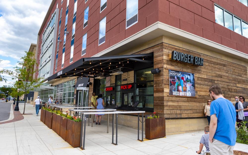 Families at Burger Bar in downtown Fort Wayne