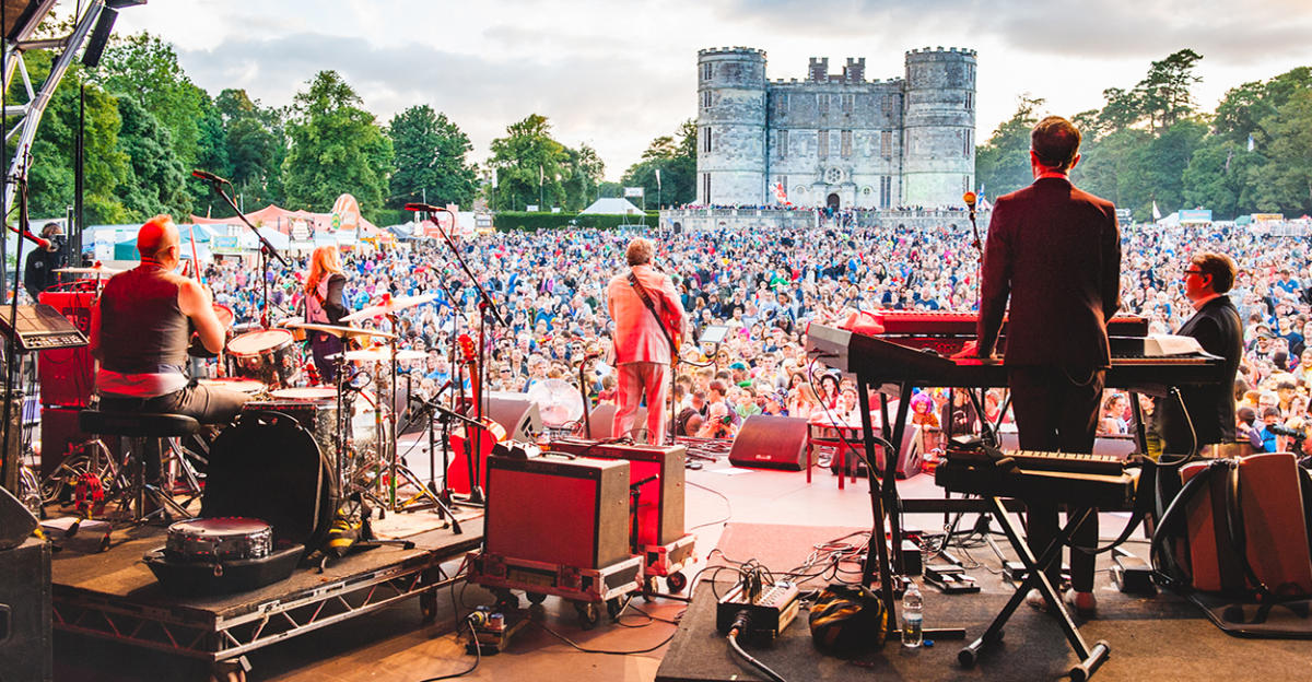 A photo from the stage at Camp Bestival looking out to the crowd