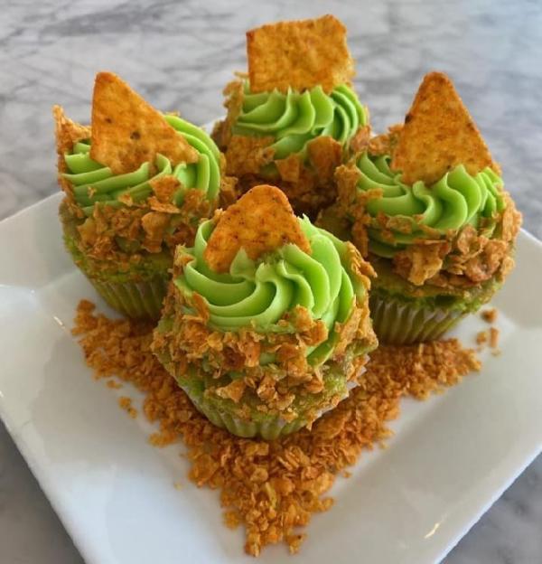 Green cupcake with Dorito crumbles