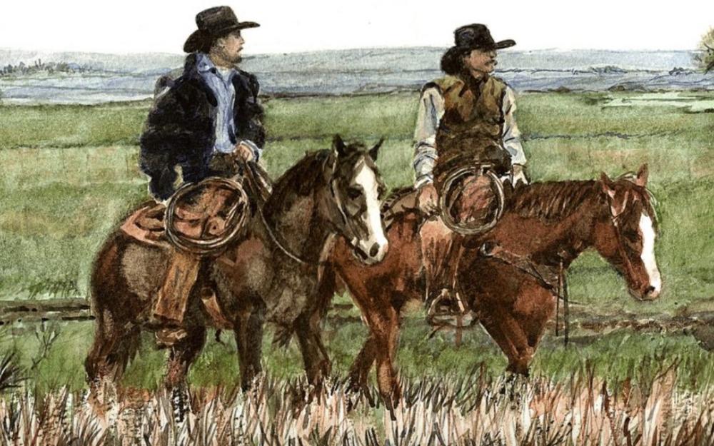 Two cowboys scan the sky at Circle K Trail Rides in Fredericksburg, TX