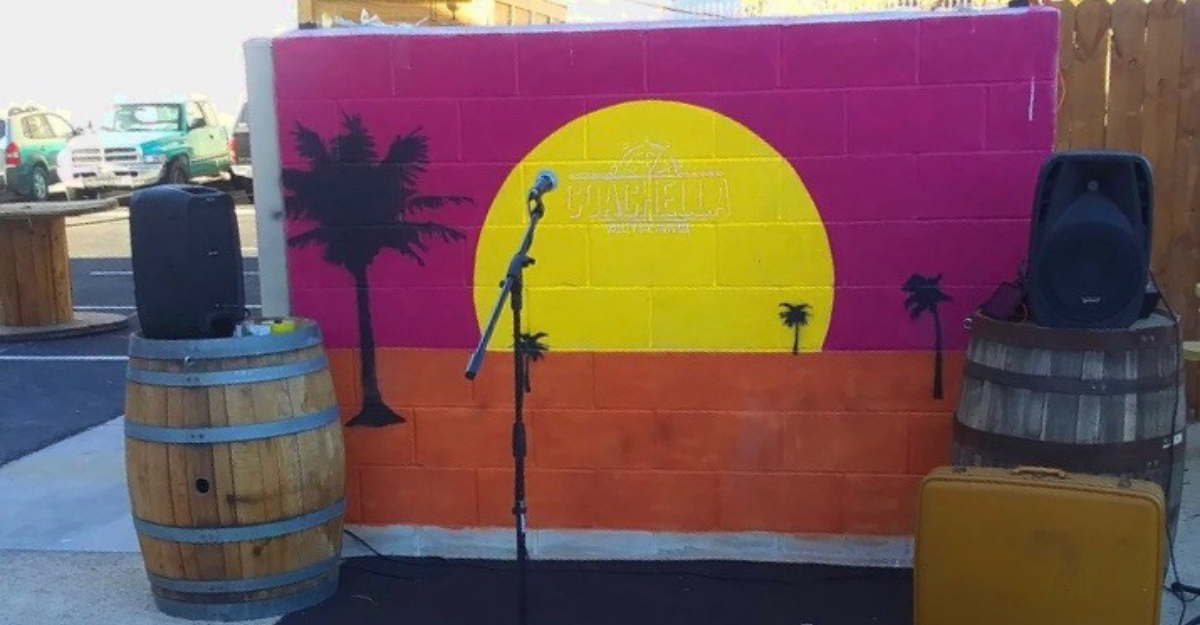 An empty stage on the outdoor patio at Coachella Valley Brewing Co.