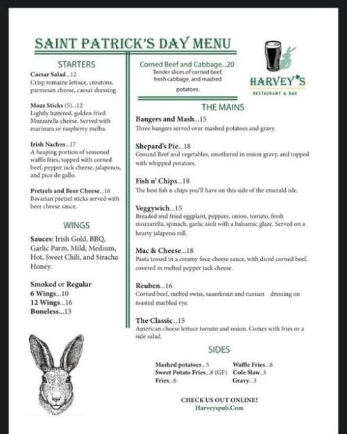 Harvey's St. Patrick's Day Menu