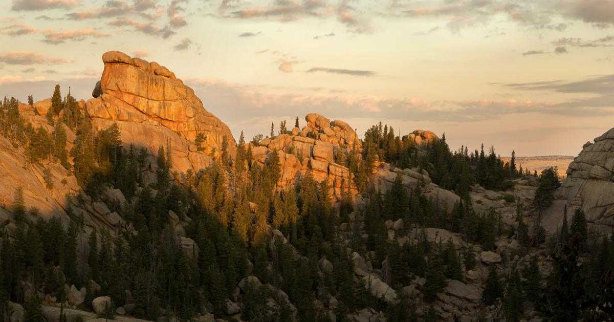 Sunset hitting Turtle Rock Trail, Wyoming, Vedauwoo Recreation Area in Medicine Bow National Forest