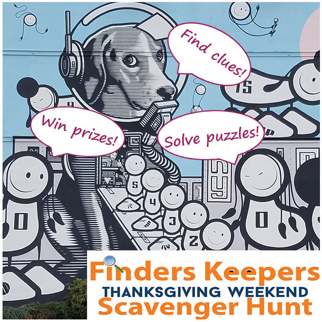 Mural created by the London Police in Covington Kentucky of robot dogs with the words Finders Keepers Thanksgiving Weekend Scavenger Hunt
