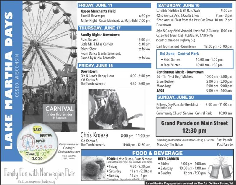 Schedule of events for Lake Martha Days 2021