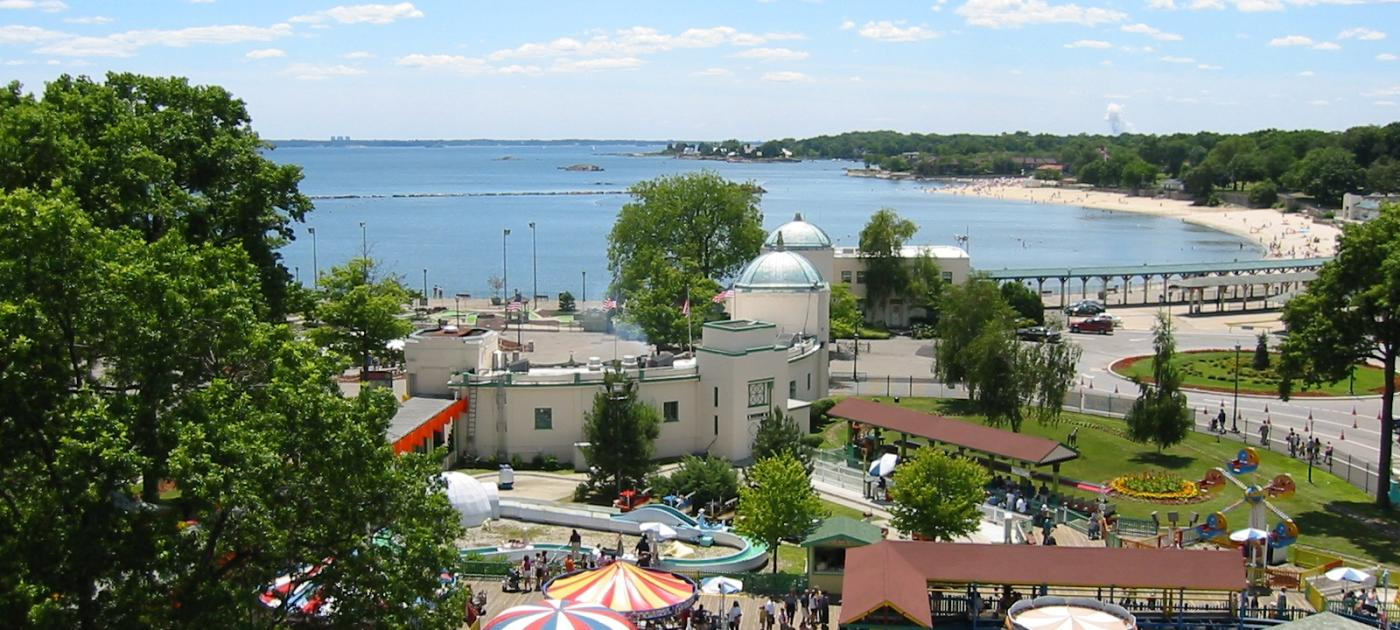Aerial view of Playland Amusement Park and Long Island Sound
