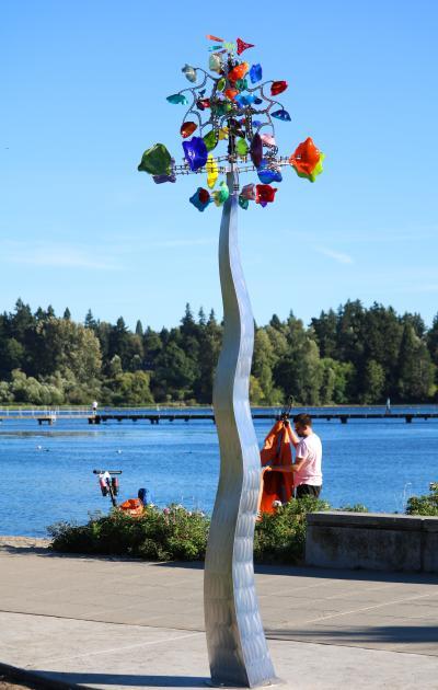 Glass sculpture at Juanita Beach