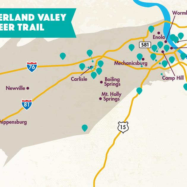 2021 Cumberland Valley Beer Trail Map