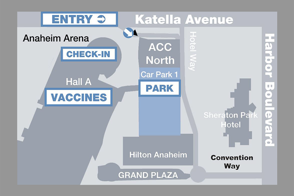 COVID-19 Vaccines and Testing Locations at the Anaheim Convention Center