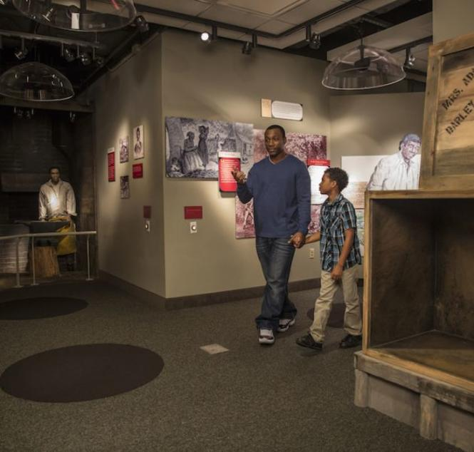 A father and son celebrate Black History month with a visit to the Banneker Douglass Museum.