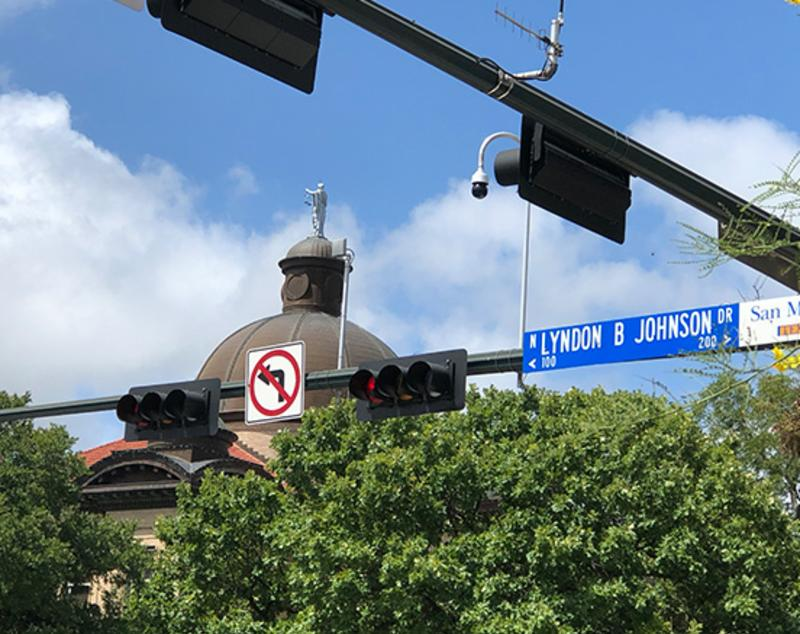 Image of the Lyndon B Johnston Street sign in Downtown San Marcos.