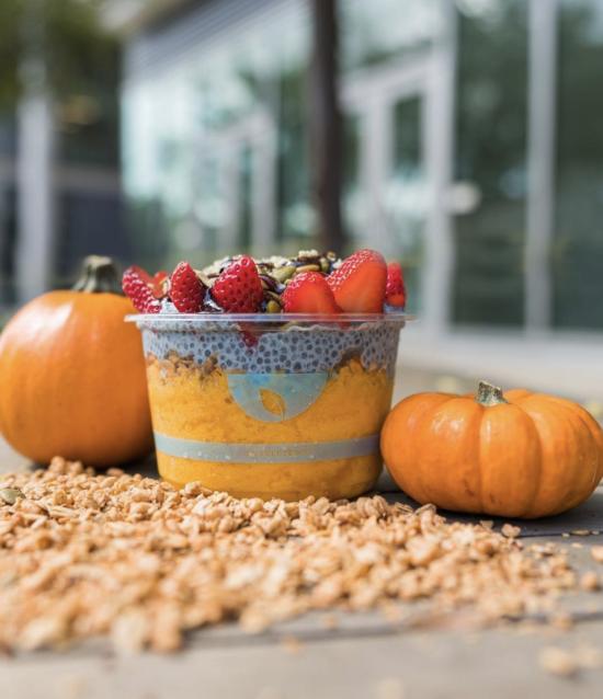 Pumpkin spice granola at Blue Bowl Superfoods in Huntington Beach, CA