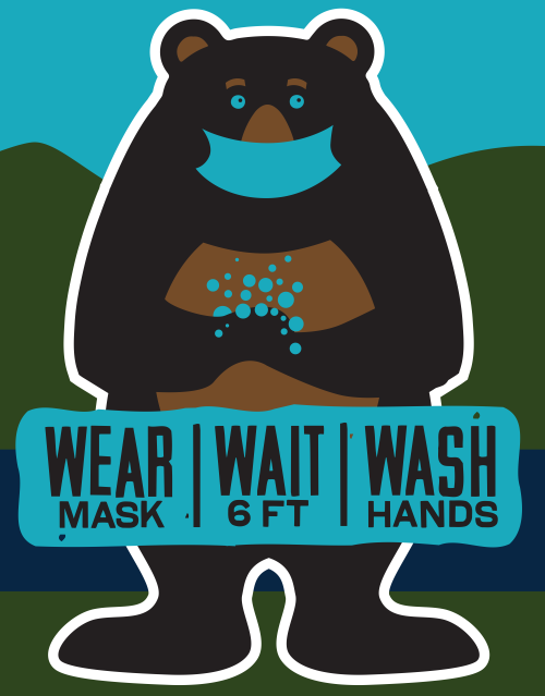 Wear, Wait and Wash Your Hands Bear Graphic