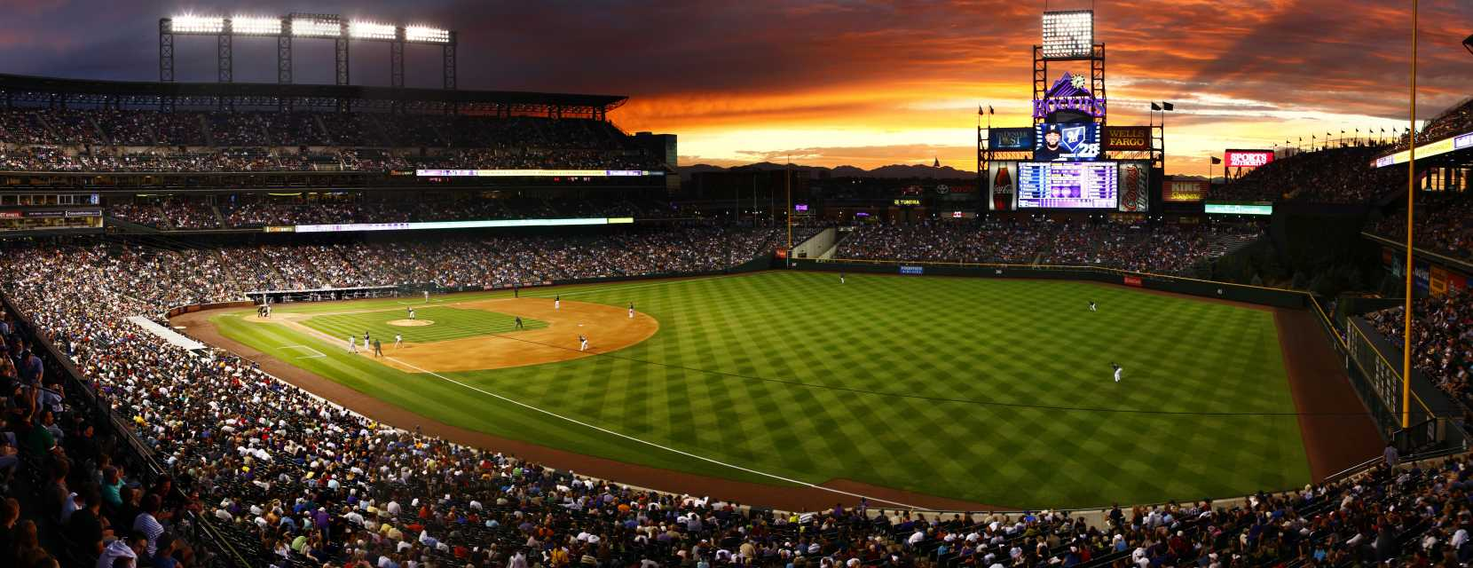 Coors Field at sunset in Denver