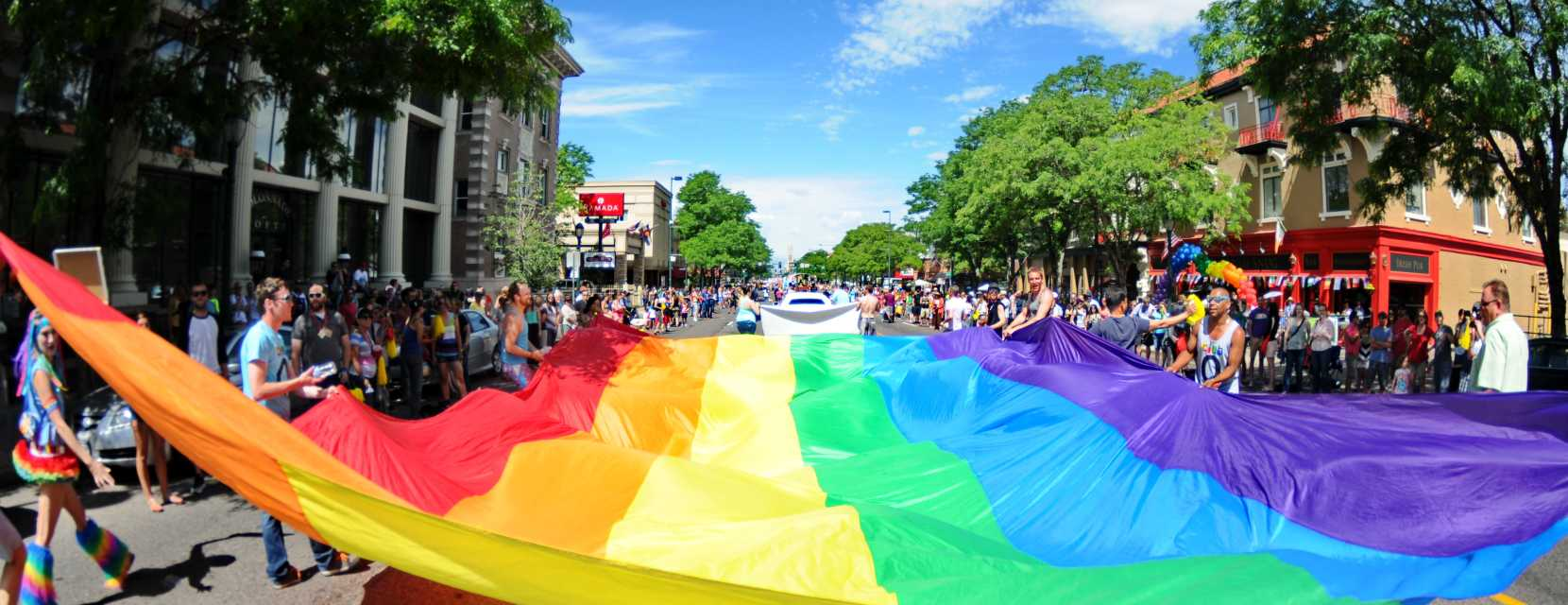 LGBTQ Rainbow flag at the Denver PrideFest parade