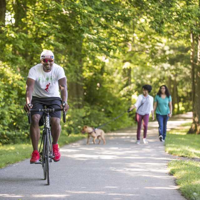 People biking and walking along the rail trail