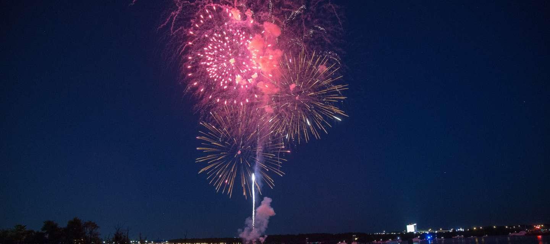 Alexandria, VA City Birthday Fireworks At Night