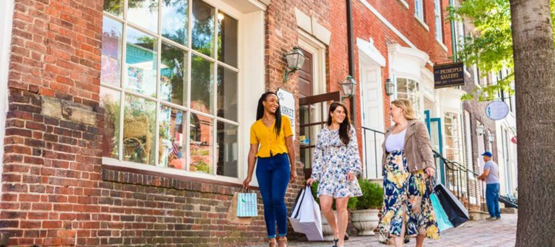 3 Women Walking Down King Street With Shopping Bags In Alexandria, VA