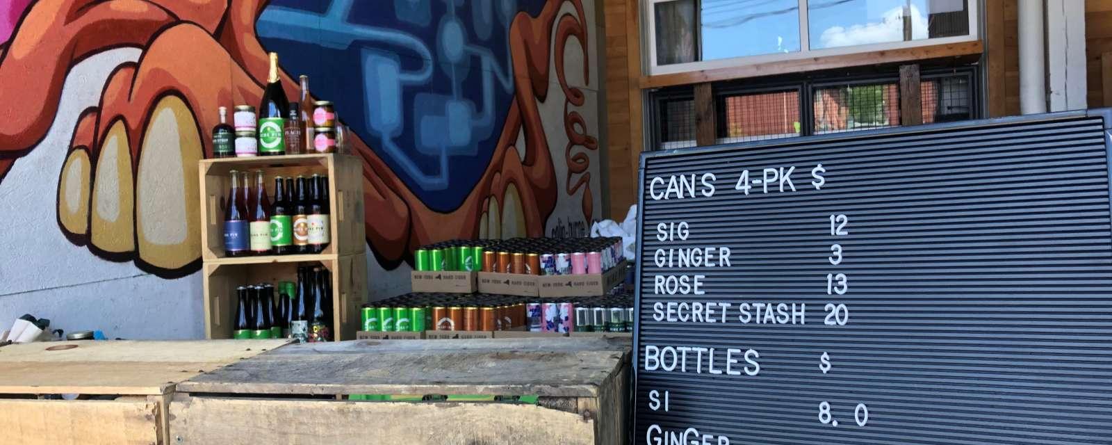 Nine Pin Cider curbside pickup station