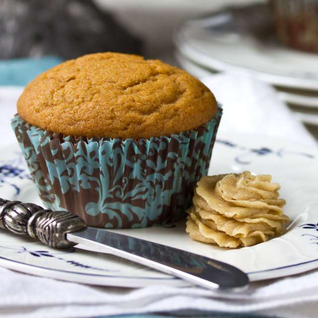 Easy Spiced Pumpkin Muffins with Brown Sugar Butter Recipe