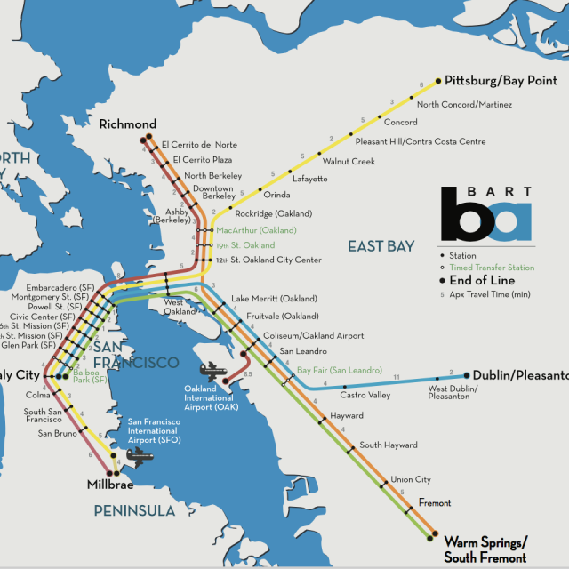 Bay Area Subway Map.Oakland Maps Directions Downtown Oakland Bart Maps