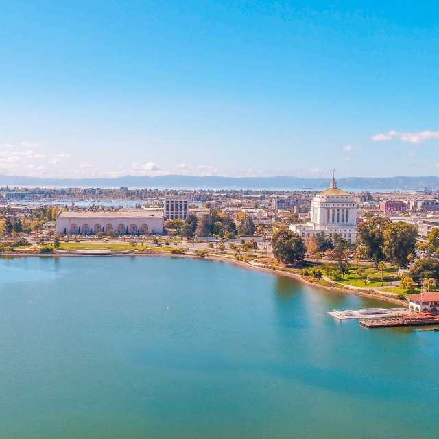 Aerial View Of The Lake Merritt Neighborhood In Oakland, CA