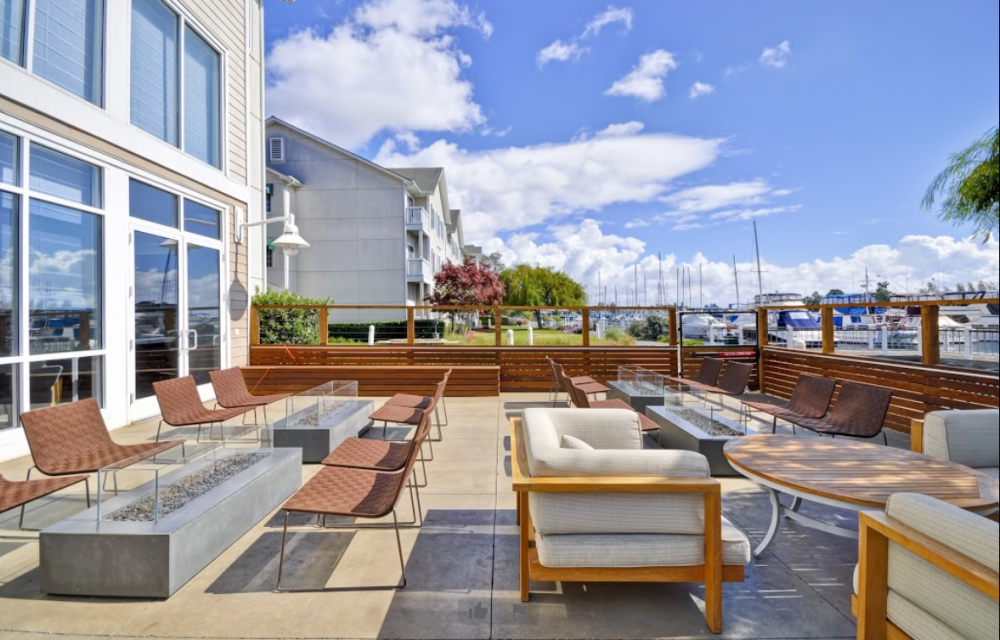 Patio at the Homewood Suites in Oakland CA
