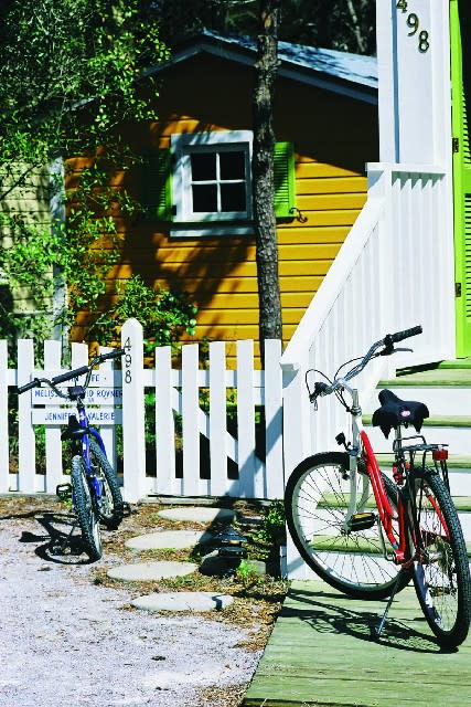 The village of Seaside is 80 acres of brick-paved, car-free streets.
