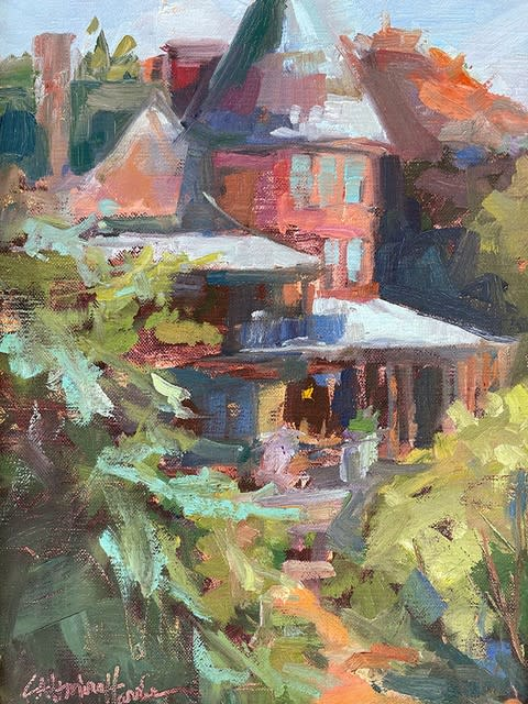 Sonnenberg Gardens Mansion plein air art turret and many colors