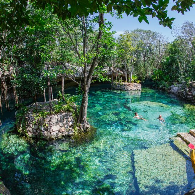 Swimming in open cenote