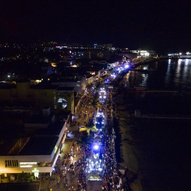 Parade at Night Aerial