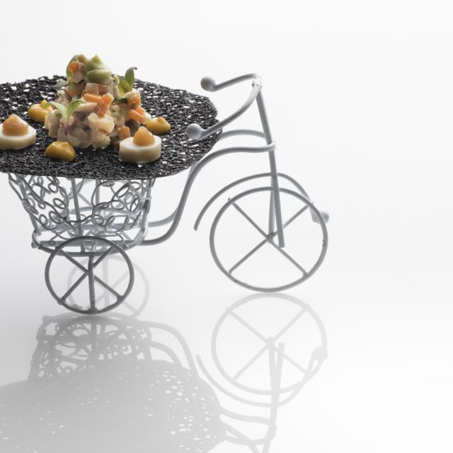 Fancy Plated Dish on Small Tricycle