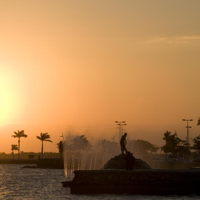 Chetumal Seaside Fountain Sunset